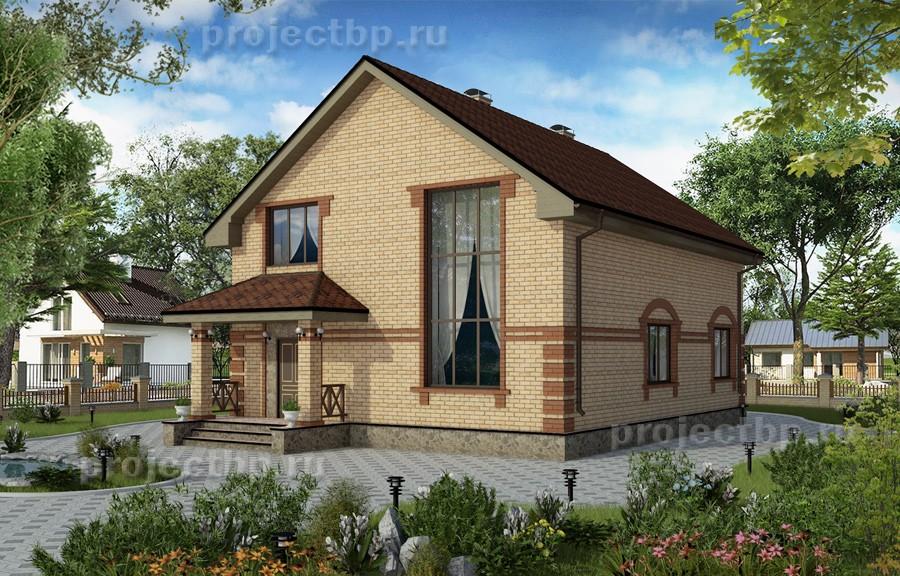 Проект дома со вторым светом в гостиной 160-B-1-Z